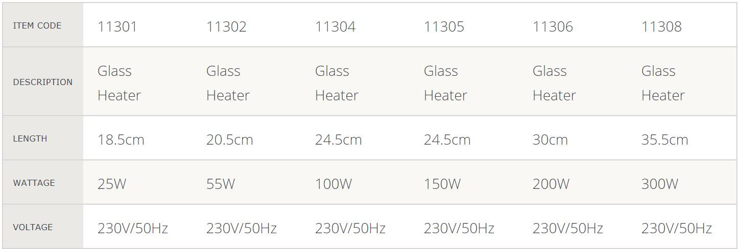 Glass Heater Spec