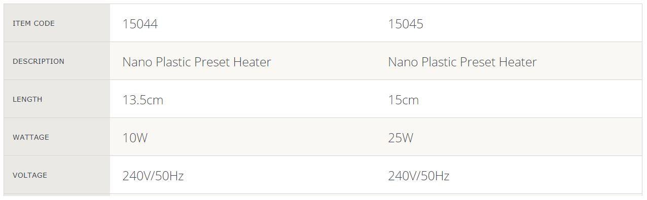Nano Preset Heater Spec