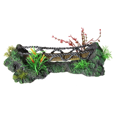 Faux Wooden Bridge with Plastic Plants