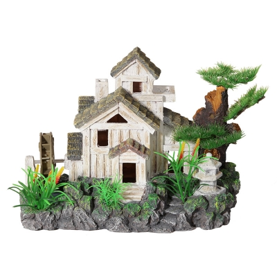 Cottage with Water Wheel and Bonsai