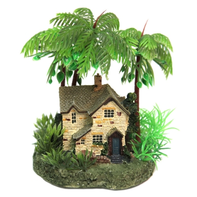 Cottage with Palm Trees on Rock