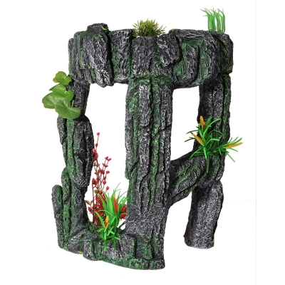 Stone Arch with Plastic Plants